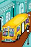 Ônibus amarelo dos animais na cidade Ilustração do vetor Fotos de Stock