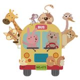 Ônibus animal ilustração royalty free