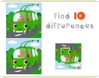Ônibus bonde verde dos desenhos animados Jogo educacional para crianças: di do achado dez Foto de Stock