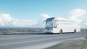 Ônibus branco na estrada, estrada do turista Condução muito rápida Conceito turístico e do curso Animação 4K realística ilustração royalty free