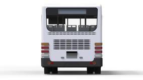 Ônibus branco urbano pequeno em um fundo branco rendição 3d Fotos de Stock