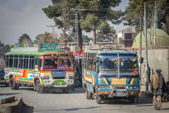 Ônibus coloridos de Quetta Fotografia de Stock