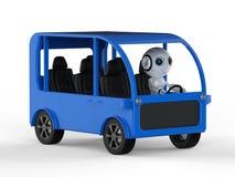 Ônibus da movimentação do robô ilustração royalty free