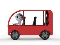 Ônibus da movimentação do robô ilustração stock