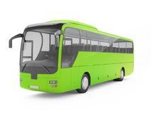 Ônibus de excursão verde grande em um fundo branco Fotografia de Stock