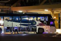 Ônibus de Volvo da empresa do governo do transporte Rota de ônibus de 15 medidores Foto de Stock Royalty Free