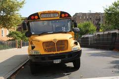 Ônibus do amarelo da escola de New York City fotografia de stock royalty free