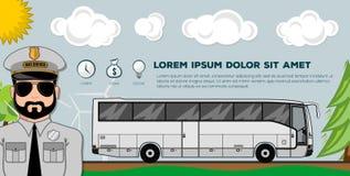 Ônibus do curso Bandeiras ou cartazes do transporte Ideal para a site ou a imagem social do perfil da tampa da rede dos meios ilustração stock
