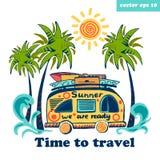 ônibus do verão ilustração do vetor