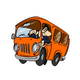 Ônibus dos desenhos animados com um motorista Fotografia de Stock