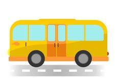 Ônibus dos desenhos animados no fundo branco Foto de Stock Royalty Free