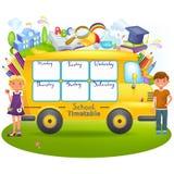 Ônibus escolar com calendário da escola ilustração royalty free