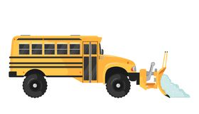 Ônibus escolar do arado de neve no estilo liso no branco foto de stock royalty free