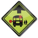 Ônibus escolar do sinal de aviso ilustração stock