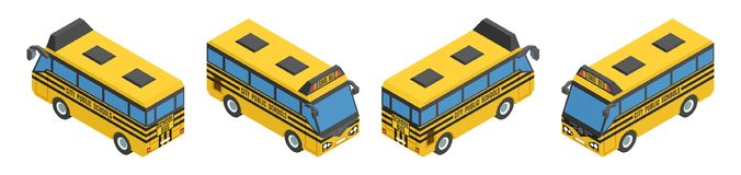 Ônibus escolares amarelos isométricos pequenos Foto de Stock