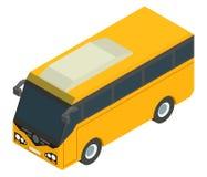 Ônibus isométrico amarelo para passageiros levando Imagem de Stock