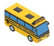 Ônibus isométrico pequeno amarelo com vidros azuis Imagem de Stock Royalty Free