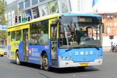 Ônibus público de Nanjing City, China Foto de Stock