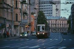 Ônibus retro em St Petersburg Foto de Stock Royalty Free