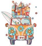Ônibus retro tirado mão do esboço da garatuja Imagem de Stock Royalty Free