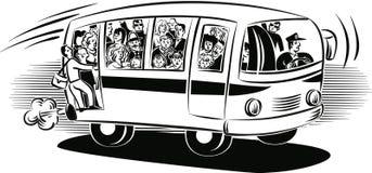 Ônibus sobrecarregado com a viagem dos passageiros ilustração stock