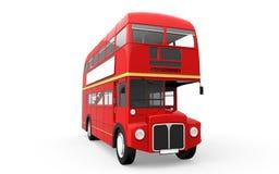 Ônibus vermelho do autocarro de dois andares isolado no fundo branco Fotografia de Stock