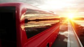 Ônibus vermelho na estrada, estrada do turista Condução muito rápida Conceito turístico e do curso Animação 4K realística vídeos de arquivo