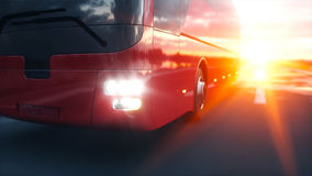 Ônibus vermelho na estrada, estrada do turista Condução muito rápida Conceito turístico e do curso rendição 3d
