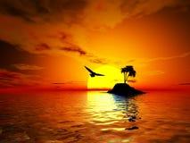 ö över den tropiska solnedgången Fotografering för Bildbyråer
