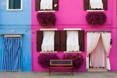 Ö av Burano/Venedig Arkivbilder