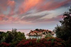 Ö av St Stefan Montenegro Royaltyfri Foto