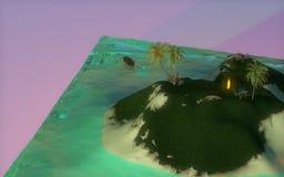 ö 3D med träd och havet royaltyfri illustrationer