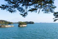 Ö i den Matsushima fjärden av Japan arkivfoto