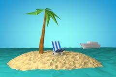 Ö i havet med palmträdet och stol Fotografering för Bildbyråer