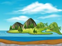 Ö med moutains och floder stock illustrationer