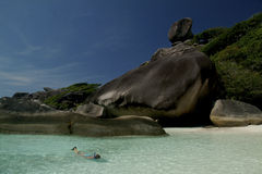 ö nära similan snorkeling thailand Arkivfoton
