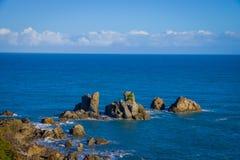 Ö nära udde Foulwind, sikt från den uddeFoulwind gångbanan på skyddsremsakolonin, Tauranga fjärd New Zealand Arkivbilder