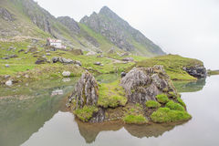Ö på sjön nära berget Arkivfoton