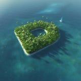 Öalfabet. Tropisk ö för paradis i form av bokstav D Royaltyfri Fotografi