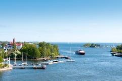 Öar av skärgården i Östersjön nära Helsingfors Finl Royaltyfri Fotografi