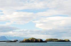 Öar i en isländsk fjord Royaltyfri Fotografi