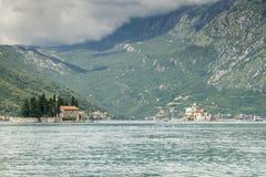 Öar i fjärden av Kotor i Montenegro Royaltyfria Bilder