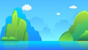 Öar med kullar och illustrationen för himmelbakgrundsvektor Härlig naturplats med lake= stock illustrationer
