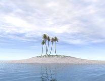 Öde ö med palmträd Royaltyfri Bild