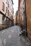 Öde gata av Stockholm arkivfoton
