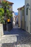 Öde gata i mitt av Baska croatia Fotografering för Bildbyråer