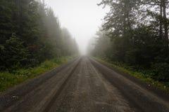 Öde grusväg i dimman Arkivfoton