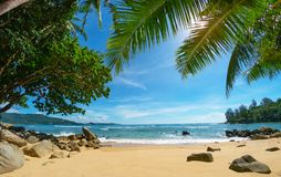 Öde hemtrevlig tropisk strand blommahuslake phuket thailand Arkivbilder