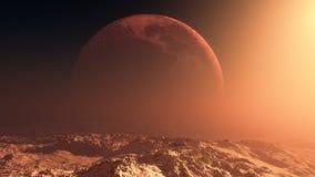 Öde jord i horisonten av månen Arkivbilder