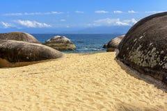 Öde och ofördärvad strand Royaltyfri Bild
